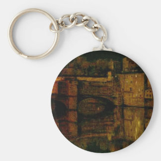 The Ponte Vecchio, Florence by William Holman Hunt Basic Round Button Keychain