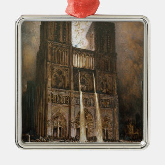 The Populace Besieging Notre-Dame Silver-Colored Square Ornament