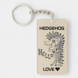 The porcupine (hello) monochrome which has the Single-Sided rectangular acrylic keychain