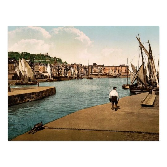 The port, Honfleur, France classic Photochrom Postcard