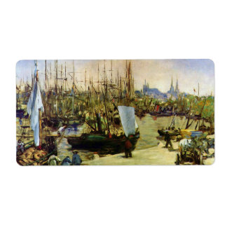 The Port of Bordeaux by Edouard Manet Shipping Label