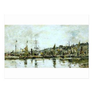 The port of Bordeaux by Eugene Boudin Postcard