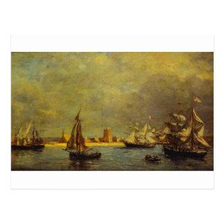 The Port of Camaret by Eugene Boudin Postcard
