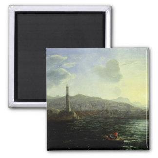 The Port of Genoa, Sea View Square Magnet