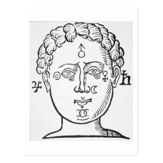 The Position of the Planets in the Human Head, cop Postcard
