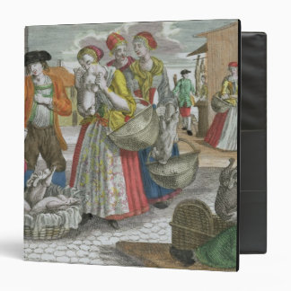 The Poultry Market coloured engraving 3 Ring Binders