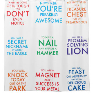 The Power Shower Curtain - Motivational slogans