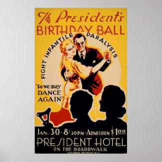 The Presidents Birthday Ball Vintage Poster