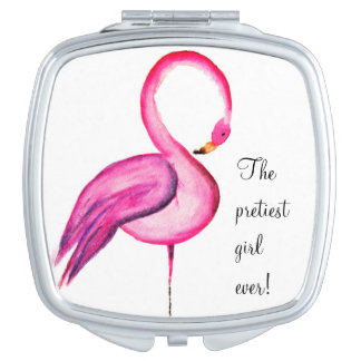 """The pretiest girl ever"" with pink flamingo Mirrors For Makeup"