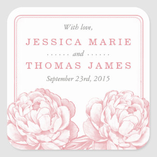 The Pretty Peony Floral Wedding Collection Square Sticker