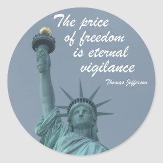 The price of freedom... round sticker