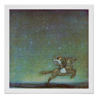 The Prince Rides in Moonlight by John Bauer Poster