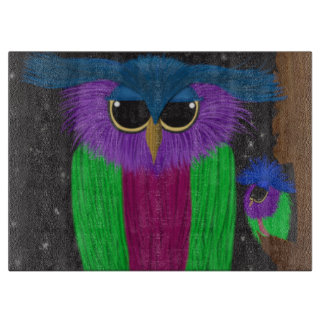 The Prismatic Crested Owl Glass Cutting Board