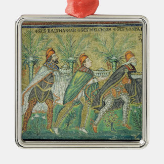 The procession of the three kings Silver-Colored square ornament