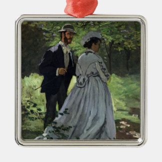 The Promenaders, or Bazille and Camille, 1865 Silver-Colored Square Ornament