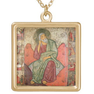 The Prophet Elijah, Pskov School (panel) Gold Plated Necklace