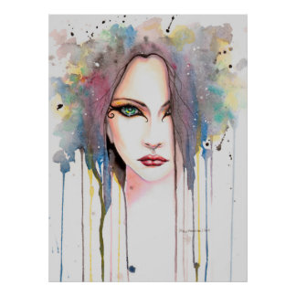 The Psychic Modern Watercolor Portrait of a Woman Poster