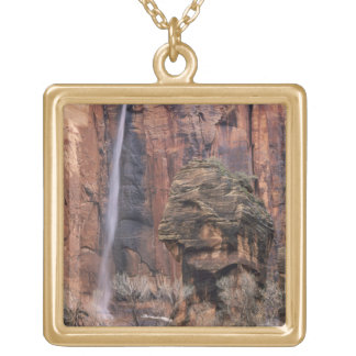 The Pulpit and ephemeral waterfall 2 Gold Plated Necklace