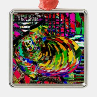 The Pulsating Heart Silver-Colored Square Ornament