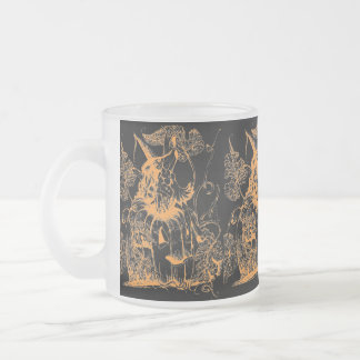 The Pumpkin Fairy (black/orange) ~ Frosted Glass 10 Oz Frosted Glass Coffee Mug