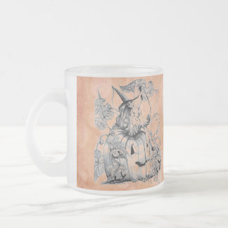 The Pumpkin Fairy (orange/circles) ~ Frosted Glass 10 Oz Frosted Glass Coffee Mug