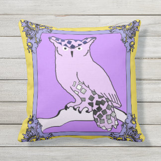 The Purple Owl Throw Pillow
