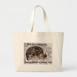 The purrrrfect life. large tote bag