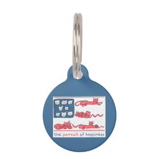 The Purrsuit of Happiness blue round pet tag