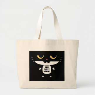 """""""The Puss Abides"""" Cool Funny Sarcastic Cat Large Tote Bag"""