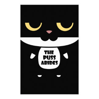 """The Puss Abides"" Cool Funny Sarcastic Cat Stationery"