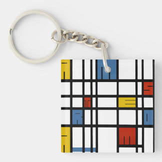 The puzzle of Amsterdam (Mondrian style) Double-Sided Square Acrylic Keychain
