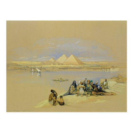 The Pyramids at Giza, near Cairo (w/c) Postcard