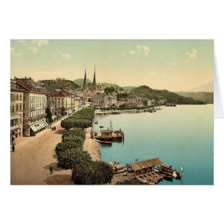 The quay, from the Swan Hotel, Lucerne, Switzerlan Card
