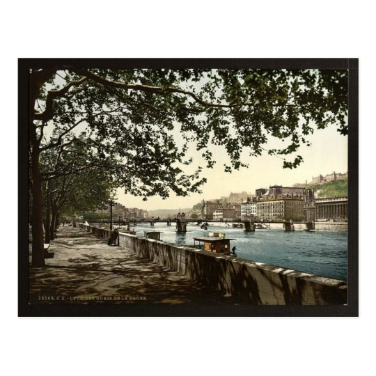 The quay of the Saône, Lyons, France classic Postcard