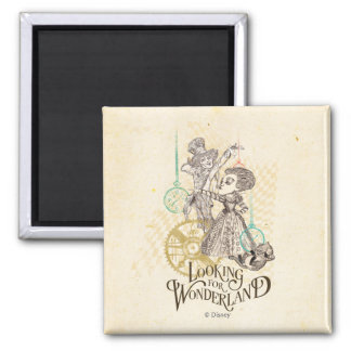 The Queen & Mad Hatter | Looking for Wonderland Square Magnet