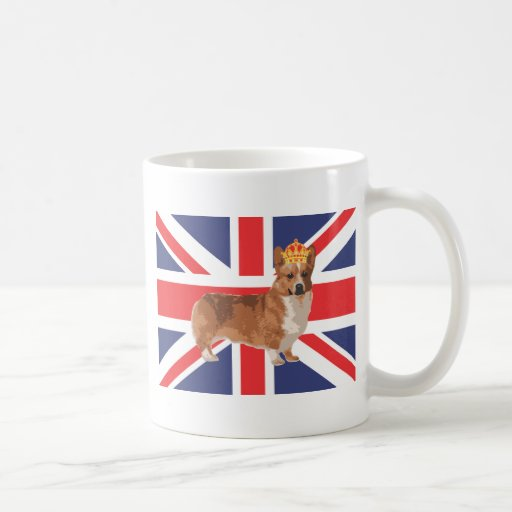 The Queen's Corgi with Crown and Union Jack Coffee Mug