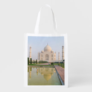 The quiet peaceful Taj Mahal at sunrise one of Reusable Grocery Bag