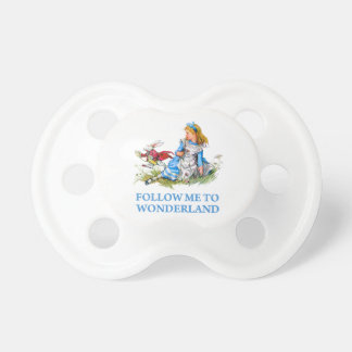 "The Rabbit tells Alice, ""Follow me to Wonderland"" Pacifier"