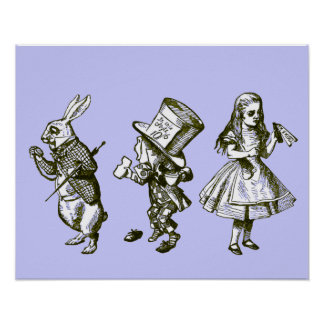 The Rabbit, the Hatter & Alice in Blue Tint Poster