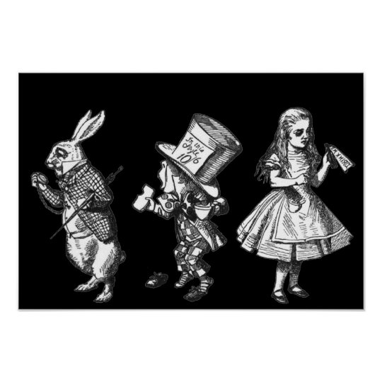 The Rabbit, the Hatter & Alice Wonderland Poster