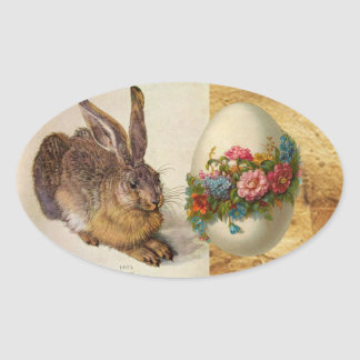 THE RABBIT ( Young Hare ) EASTER EGGS WITH FLOWERS Oval Sticker