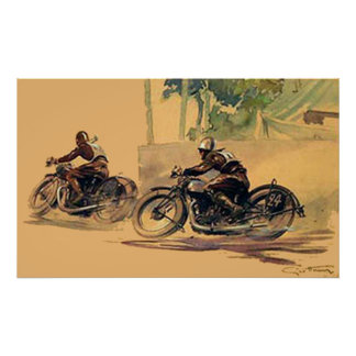 The Race Art deco retro vintage poster