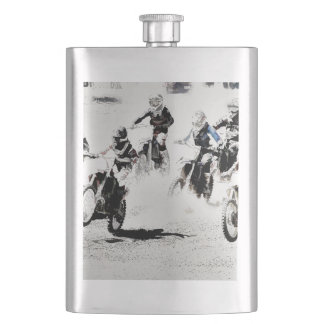 The Race is On - Motocross Racers Hip Flask