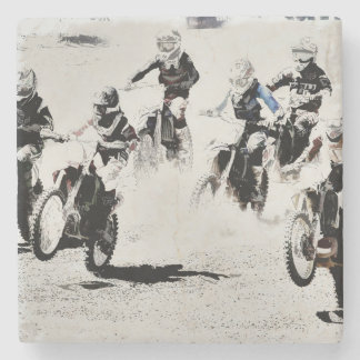 The Race is On - Motocross Racers Stone Coaster