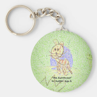 """The Rainforest"" by Kaitlin, Age 6 Basic Round Button Keychain"