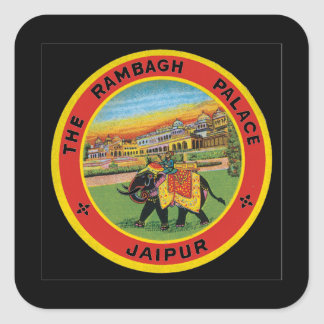 The Rambagh Palace Jaipur_Vintage Travel Poster Square Sticker
