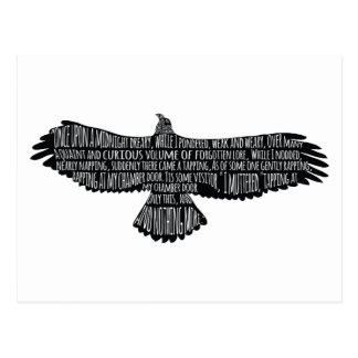 The Raven by Edgar Allan Poe Typography Postcard