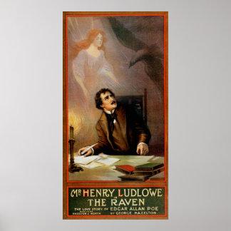 """""""The Raven"""" Edgar Allan Poe ~ Henry Ludlowe 1908 Poster"""