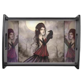The Raven Gothic Fantasy Art Serving Tray