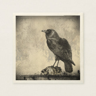 The Raven Gothic Horror Illustration Disposable Napkin